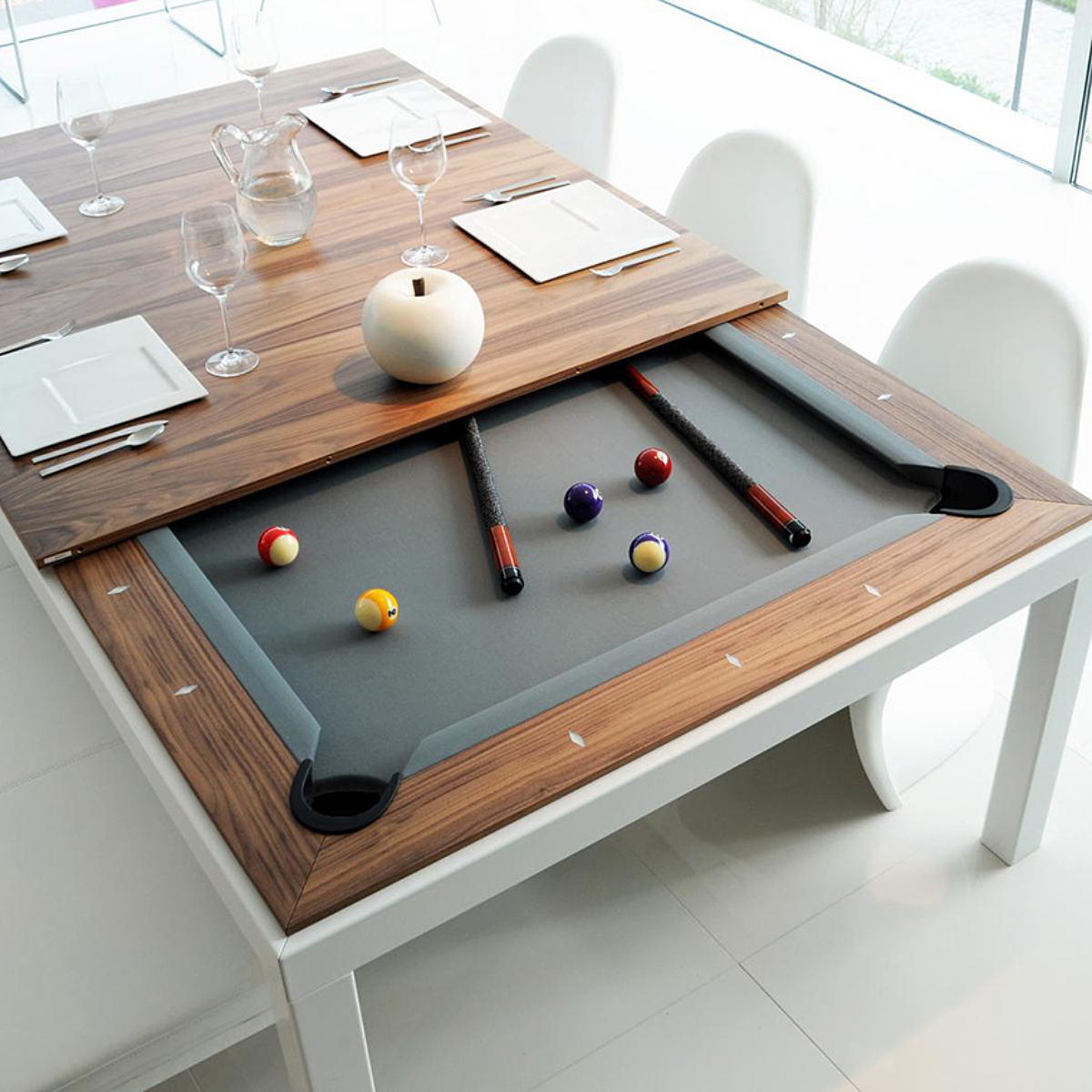 fusion table pooltafel eettafel